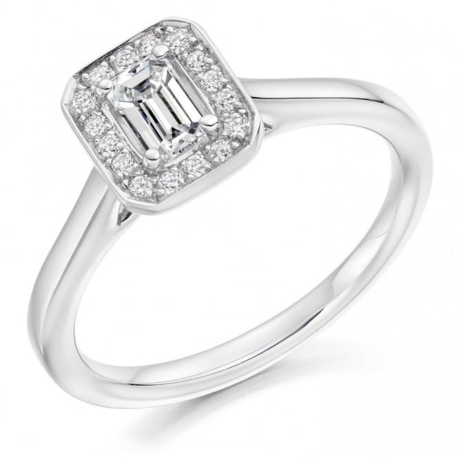 The Raphael Collection Platinum 0.31ct E VS2 IGI emerald cut diamond halo ring