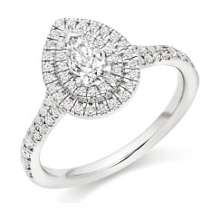 Platinum 0.32ct E SI2 IGI pear cut diamond double halo ring.
