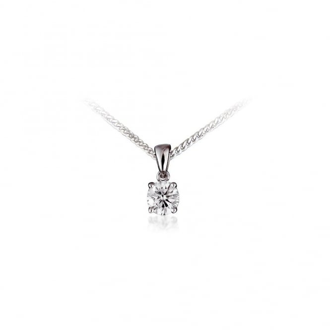 Platinum 0.32ct round brilliant cut diamond pendant
