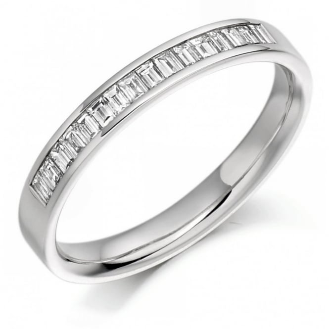 The Raphael Collection Platinum 0.33ct baguette cut diamond half eternity ring.