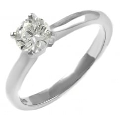 Platinum 0.33ct D IF GIA round brilliant cut diamond ring.