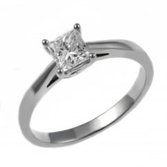 Platinum 0.33ct D VS1 GIA princess cut diamond solitaire ring.