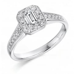 Platinum 0.33ct E VS2 IGI emerald cut solitaire diamond ring.