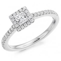Platinum 0.33ct F VVS2 IGI princess cut diamond halo ring.
