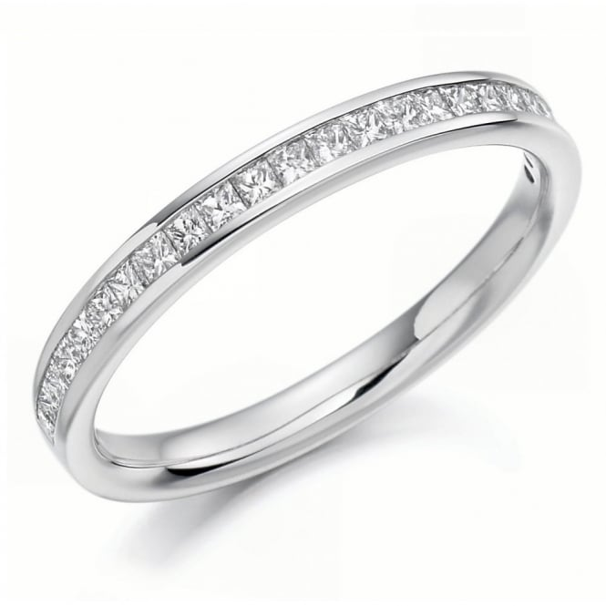 The Raphael Collection Platinum 0.33ct princess cut diamond half eternity ring.