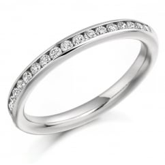Platinum 0.33ct round brilliant H SI diamond half eternity ring.