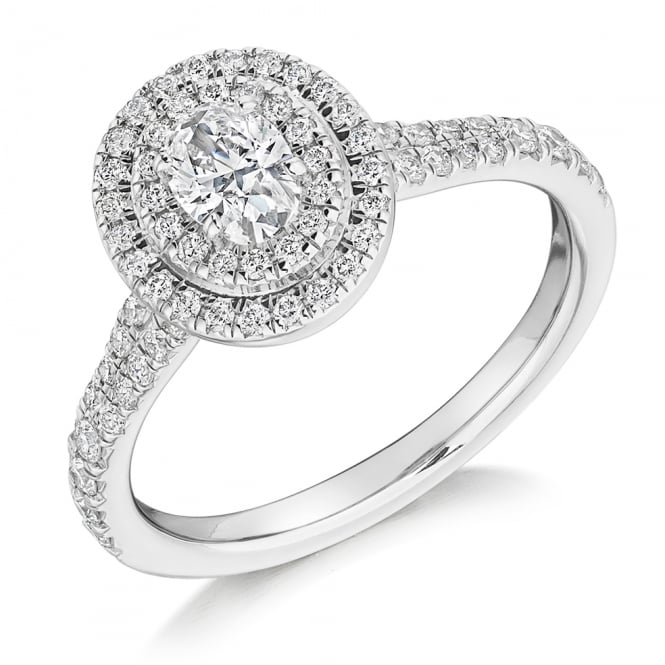 The Raphael Collection Platinum 0.34ct D SI1 IGI oval diamond double halo ring.