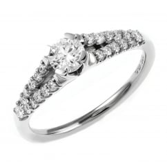 Platinum 0.34ct D VS1 EGL round brilliant cut diamond ring.