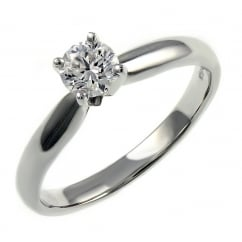 Platinum 0.34ct D VS2 EGL round brilliant cut diamond ring.