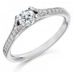Platinum 0.34ct F SI1 IGI round brill diamond solitiare ring