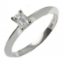 Platinum 0.34ct prince cut diamond knife edge solitaire ring.