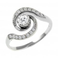 Platinum 0.34ct round brilliant cut diamond swirl design ring.