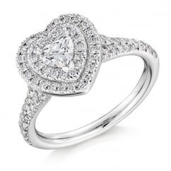 Platinum 0.35ct G VS1 IGI heart cut diamond double halo ring.