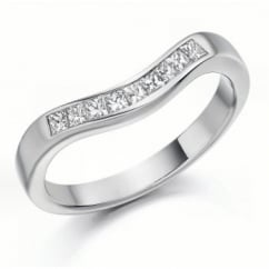 Platinum 0.35ct princess diamond shape-to-fit eternity ring.