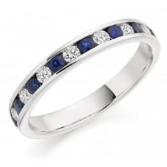 Platinum 0.35ct sapphire & 0.27ct diamond half eternity ring.