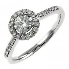 Platinum 0.36ct D VS1 EGL round brilliant cut diamond halo ring