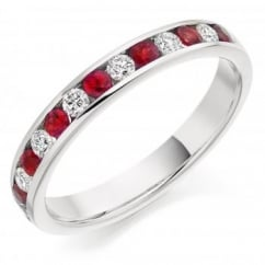 Platinum 0.36ct ruby & 0.27ct diamond half eternity ring.