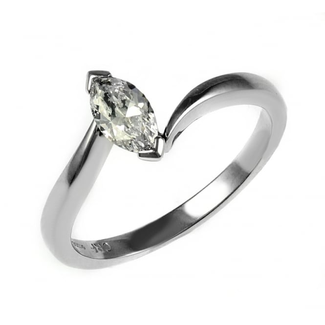 Platinum 0.37ct G VS2 GIA marquise diamond twist solitaire ring