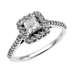 Platinum 0.39ct D VS1 EGL princess cut diamond halo ring.
