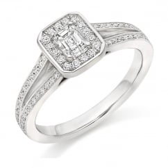 Platinum 0.39ct E VS1 IGI emerald cut diamond halo ring.