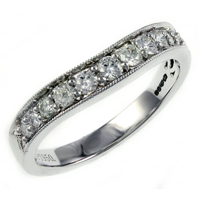 Platinum 0.40ct art deco style curved wedding band.
