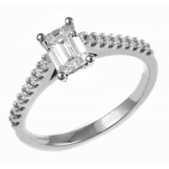 Platinum 0.40ct D VS2 EGL emerald cut diamond solitaire ring.