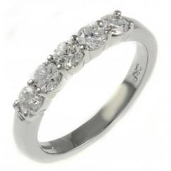 Platinum 0.40ct round brilliant cut diamond 5 stone ring.