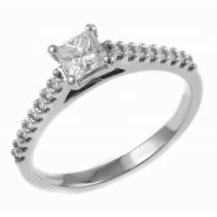 Platinum 0.41ct D VVS2 EGL princess cut diamond solitaire ring.