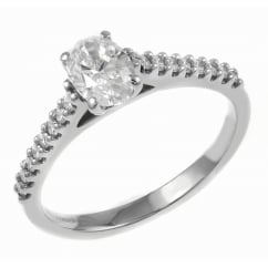 Platinum 0.42ct D VS1 EGL oval cut diamond solitaire ring.