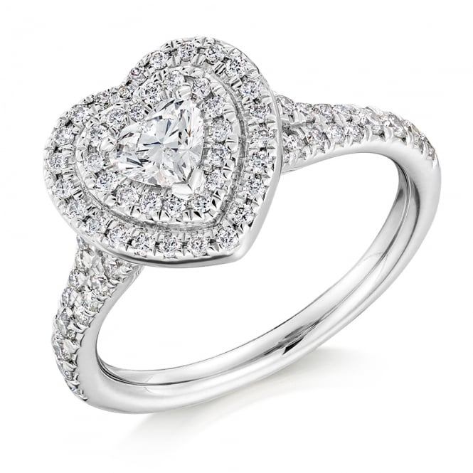 The Raphael Collection Platinum 0.42ct G VS2 IGI heart cut diamond double halo ring