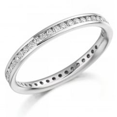 Platinum 0.42ct round brilliant cut diamond full eternity ring.