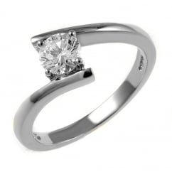 Platinum 0.42ct round brilliant cut diamond twist ring