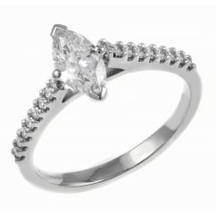 Platinum 0.44ct D VS2 EGL marquise cut diamond solitaire ring.