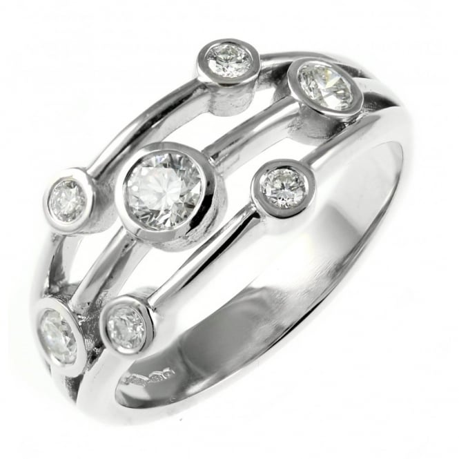Platinum 0.44ct round brilliant cut diamond spray cluster ring.