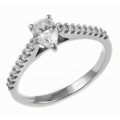 Platinum 0.45ct D VS1 EGL pear cut diamond solitaire ring.