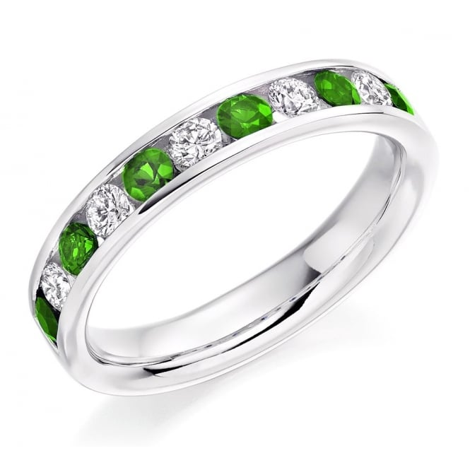 The Raphael Collection Platinum 0.45ct emerald & 0.35ct diamond half eternity ring.