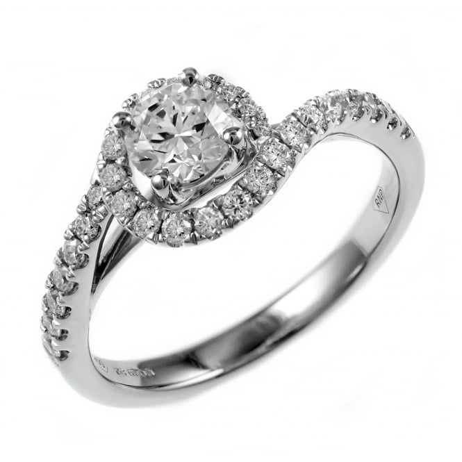 Platinum 0.46ct E VS2 EGL round brilliant cut diamond twist ring