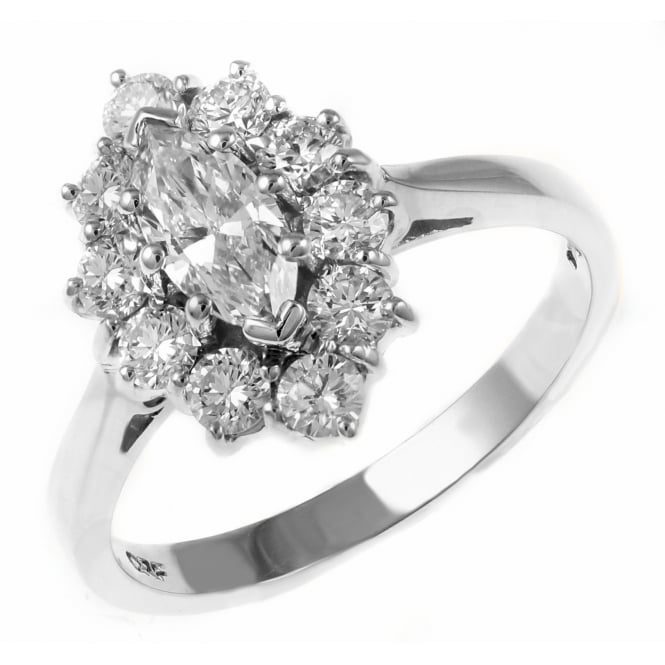 Platinum 0.48ct E VS2 GIA marquise diamond cluster ring.