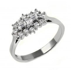 Platinum 0.50ct baguette diamond cluster ring.