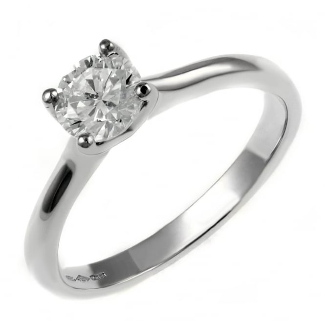 Platinum 0.50ct D VS1 EGL round brilliant cut diamond ring.