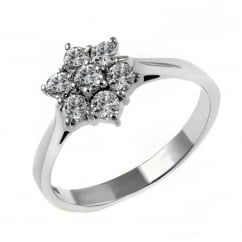 Platinum 0.50ct diamond flower cluster ring.