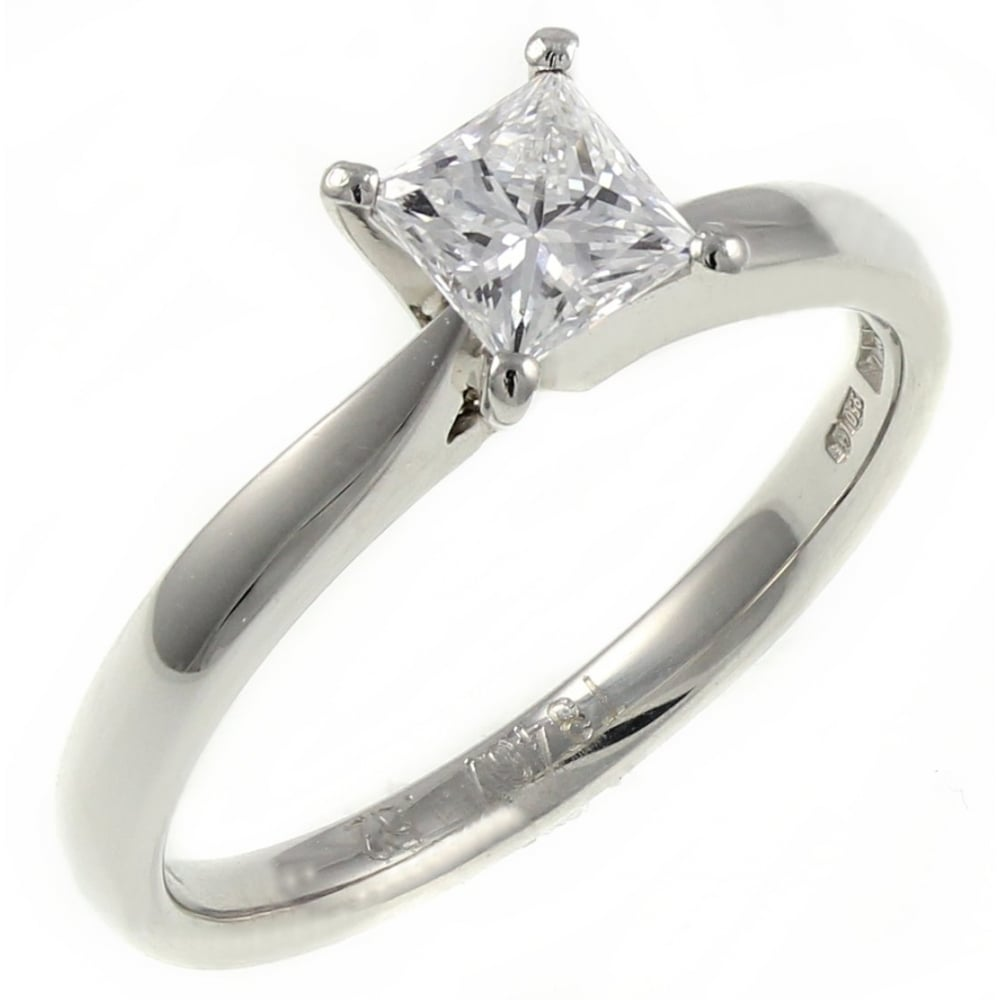 3a85704918542e Platinum 0.50ct E SI1 GIA princess cut diamond solitaire ring. - Engagement  from Mr Harold and Son UK