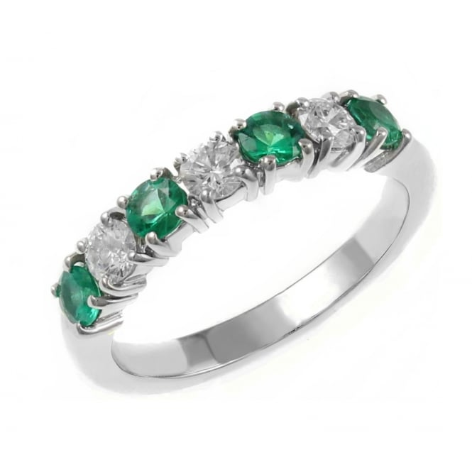 Platinum 0.50ct emerald & 0.46ct diamond 7 stone ring