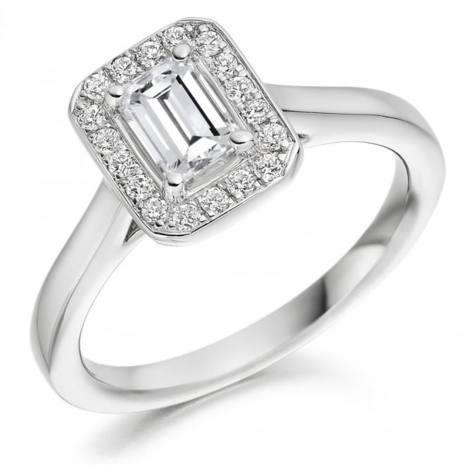 The Raphael Collection Platinum 0.50ct F VS1 IGI emerald cut diamond halo ring.