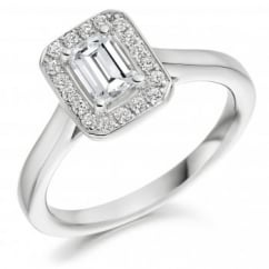 Platinum 0.50ct F VS1 IGI emerald cut diamond halo ring.