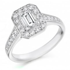 Platinum 0.50ct G VVS2 IGI emerald cut diamond halo ring.