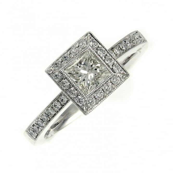 Platinum 0.50ct princess 0.24ct round diamond art deco ring.