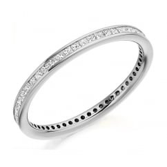 Platinum 0.50ct princess cut diamond full eternity ring.