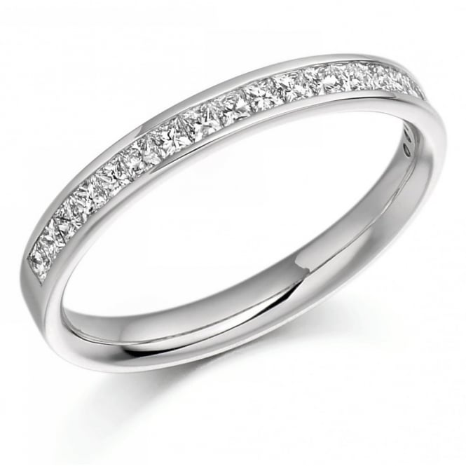 The Raphael Collection Platinum 0.50ct princess cut diamond half eternity ring.