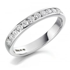Platinum 0.50ct round brilliant H SI diamond half eternity ring.